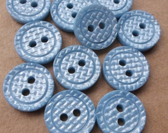 small powder blue eco friendly buttons with shiny textured diamond design surfaces--matching lot of 11