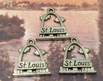St. Louis Missouri Charm - 7 pieces-(Antique Pewter Silver Finish)--style 605--