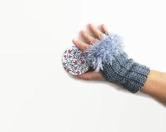 Fingerless Gloves with fluffy edgings, cozy crochet mittens elegant gray gloves, gloves gray colored