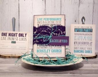 """Vintage Concert Poster Wedding Invitation Set – Rustic Wedding Invitations – Modern Purple and Teal Invite – """"Vintage Treasure"""" Deposit"""