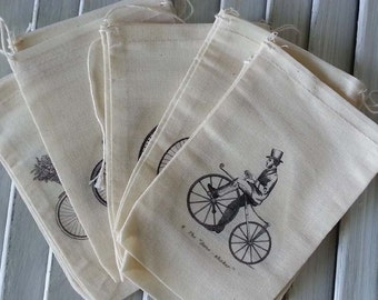 steampunk bicycle steampunk gift bag steampunk wedding muslin bags sachet bags steampunk style small gift bag