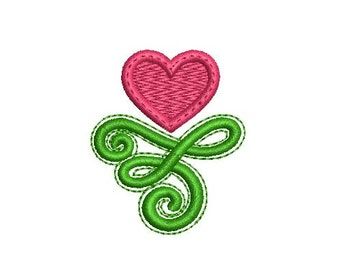 Heart Whimsical Embroidery Design Valentine's Day Decor VA025