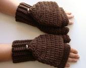 Convertible Mittens, Mens Fingerless Mitts, Football Brown Mitts, Fingerless Mittens, Crochet Convertible Gloves, Texting Mittens, Flip Top
