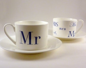 Mr & Mrs Bone China Tea Cup and Saucer Set   Mr and Mrs Tea Cup Set   Wedding Tea Cups   His and Hers Cups   Wedding Gift