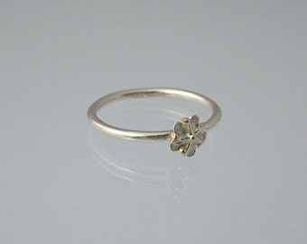 Sterling silver elderflower ring with 14ct gold