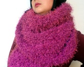 Dark Pink Fluffy Scarf Soft   Big  Neckwarmer Women Fashion  Chunky  Knit  Scarf NEW