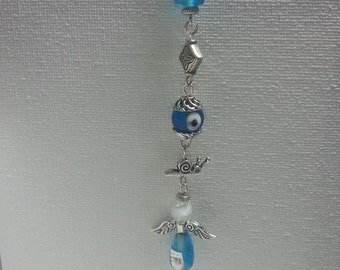 Metal bookmark with blue glass beads