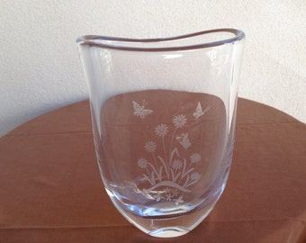 Outstanding Orrefors Crystal Vase signed in floral/butterfly etched  NO 3705