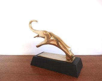 Modernist Hollywood Regency Brass Elephant