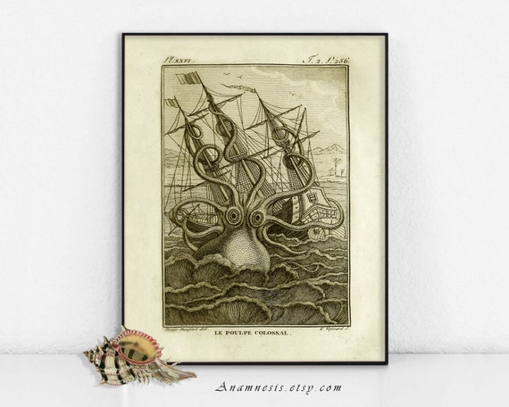 Octopus - KRACKEN PRINT in SEPIA - digital download - printable ocean monster illustration for prints, totes, pillows, fabric, cards etc.
