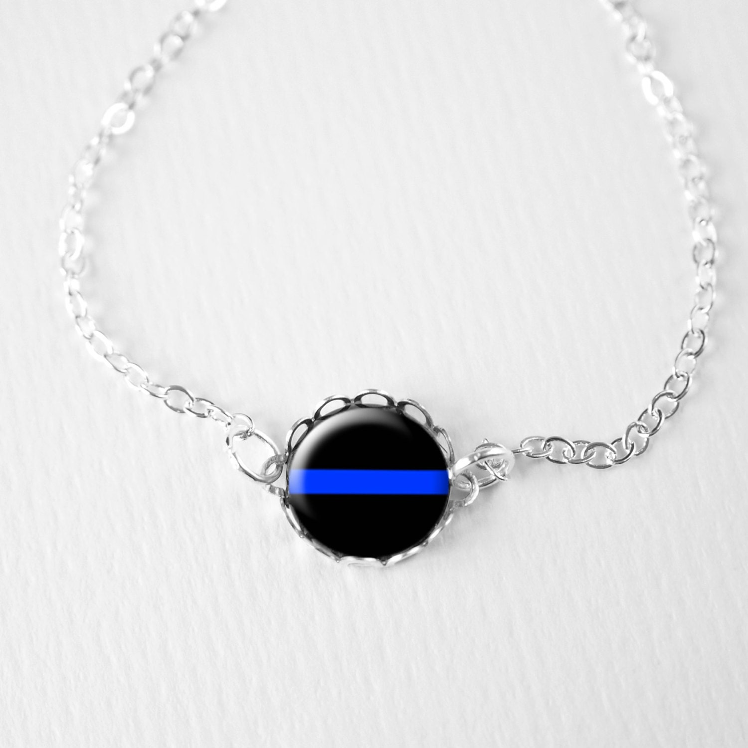 thin blue line bracelet charm enforcement by petitevanilla