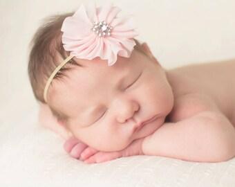 Baby Headband, Infant Headband, Pink Headband- Baby Pink Ballerina Rhinestone Headband on Gold Skinny Elastic