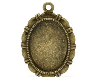 2pc Antique Bronze Cabochon Setting - Fits 28x20mm - Jewelry Finding, Jewelry Making Supplies, Necklace, DIY, Ships from USA - S34