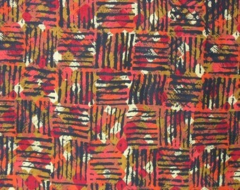 Vintage Cotton Quilting Fabric, Orange Red Black Squares, Fall Color Fabric, Geometric Fabric. Cotton Fabric - 1 yard - CFL0953