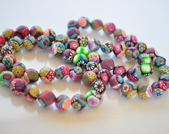 Colorful, Patchwork, Quilting, Geometric  Polymer Clay Beads