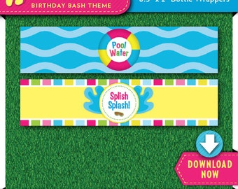Pool Party Water Bottle Labels | Wrappers | Printable Birthday Party Decorations | Instant Download