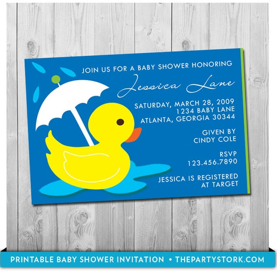 Rubber Duck Baby Shower Invitation Printable Rubber Ducky