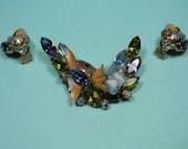Elegant Floral Blue Rhinestone Jewelry Set, Vintage, Blue and Pink,
