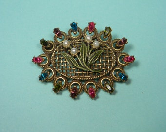 Gorgeous  Floral Hollycraft Pastel Rhinestone Brooch or Pin, Signed, Classic Vintage Elegance