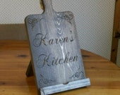 iPad Stand  Custom Carved Cutting Board Style Rustic Kitchen Decor