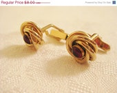75% OFF Closing SALE Vintage Cuff Links for Men Ruby Red Stone Centered in a Knot Gold Tone Setting