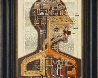 Fritz Kahn's 1926 Man as Industrial Palace Print on 1880's repurposed Dictionary Page Mixed Media collage digital altered art