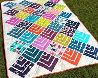 Jelly On Point - modern quilt pattern - quilts patchwork sewing Jelly Roll friendly