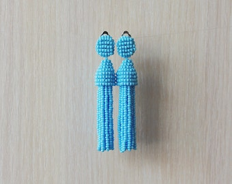 Beaded Tassel Clip-On Earrings Powder Blue (made to order)