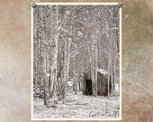 Landscape Photography | Oregon | Forest | Winter | Snow | Rustic Decor | Neutral Art Print | Brown and White