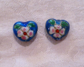 Cloisonne Heart Beads 20mm x 20mm ~ assorted colors ~ TWO beads per package