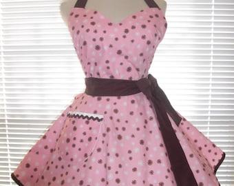 Sweetheart Retro Apron Pink and Brown Sunbursts Circular Flirty Skirt