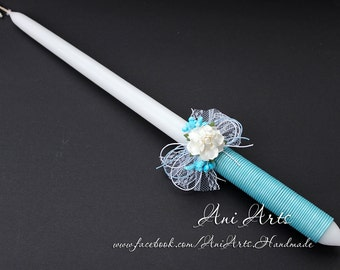 CHRISTENING Baptism Candle Greek Easter Candle Wedding Candles Wrapped with Cotton Rope Lace Paper Flower Angel