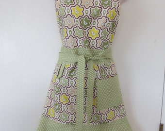 Green Bird Print Full Apron
