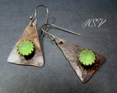 Copper hand-forged earrings with vintage Swarovski crystal and sterling silver wires