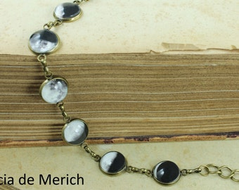 Moon  Phase Bracelet -  Planet Jewelry - Astronomy, Space, Universe, Planetary Jewelry