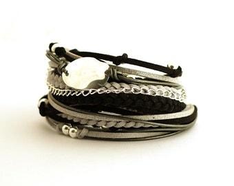 Silver Gray Black Boho Women Wrap Bracelet, Titanium Glacier Gray Gypsy Bracelet, gift for her, double wrap, boho chic