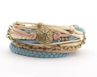 Bohemian Wrap Bracelet, Western Wrap Bracelet, Turquoise Tan Cream Wrap Bracelet, Denim Boho Bracelet, Southwest Bracelet, boho chic