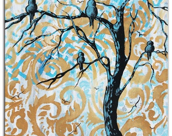 Eclectic Bird Tree Art 'Blue Fantasy' Contemporary Wall Decor Giclee on Metal, Turquoise Paisley Pattern Trees Artwork by Duncanson