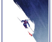 Retro styled winter sport ski poster: Powder to the People 11X17