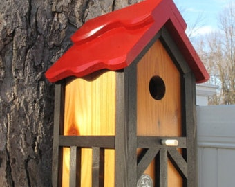 Handmade Unique outdoor wood, painted bird house/nesting box - Tudor style- made in USA fully functional- ez clean - top seller- bird lovers