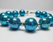 Polymer Clay Jewelry, Polymer Clay Bracelet, Blue Glitter Bracelet, Blue Beaded Bracelet, Handmade Polymer Clay Beads, Blue Polymer Beads