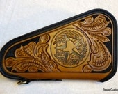 IN STOCK Leather Pistol Case with Hand Tooled Western Floral Pattern and Texas Emblem