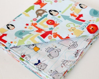 Stroller Blanket - Flannel & Organic Cotton - Zoo and Monster Friends - Blue