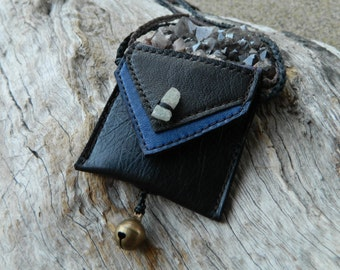 Soft Leather Pouch Necklace Kyanite Medicine Pouch Jewelry Little Leather Bag Jewelry