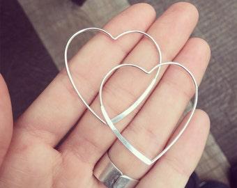 Heart big earrings
