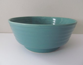 Vintage Turquoise Rimmed Pottery Bowl