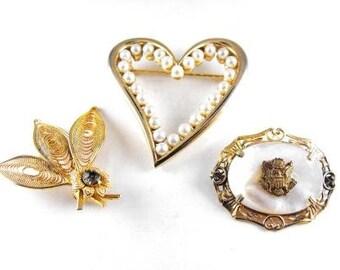 Vintage Pin LOT Three Brooches Gold Tone Heart Pin Leaf Pin MOP Military Pin