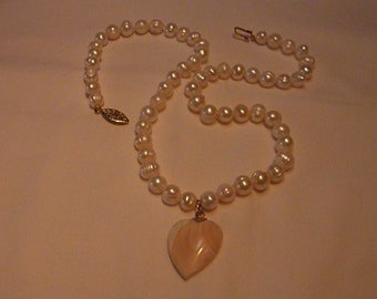 Genuine Cultured Baroque fresh water Pearl necklace with natural Shell heart. One of a kind.    Sweet!