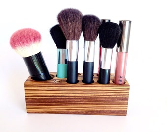 Make up Organizer Brush Holder African Wood