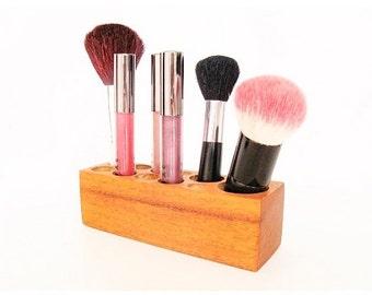 Make up Storage Organiser Brush Block Honduran Mahogany Wood